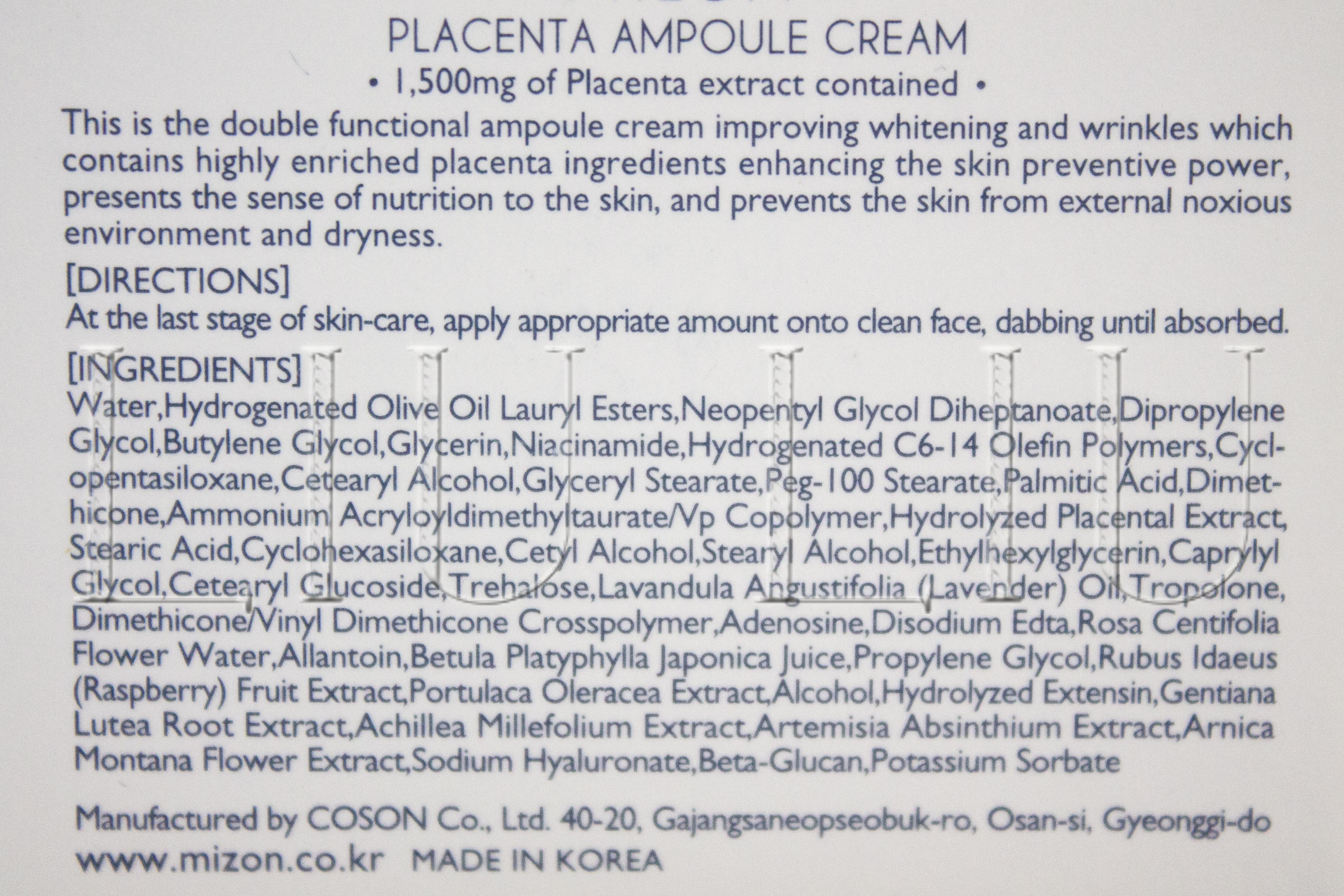 Состав Mizon Placenta Ampoule Cream liuliu.ru